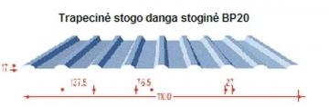 Trapecinio profilio skarda BP20 stogui dengta poliesteriu Profils trapecinio skārda loksnes