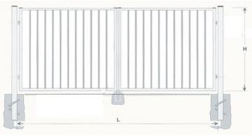 Varstomi vartai karštai cinkuoti 1500x4000 (užpildas-strypeliai) dažyti