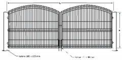 Galvanized A type swing gate 1500x5000 (filler-segment) painted
