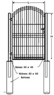 Swing Gates (single leaf) A type cinkuoti 1300x1000mm (filler-segment) painted
