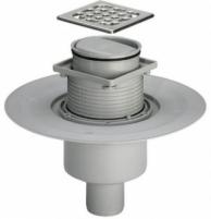 Vertikalus, sausas, reguliuojamo aukščio trapas su nerūdijančio plieno grotelėmis ir sandarinimo žiedu VIEGA, d 50