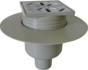 Vertikalus trapas su nerūdijančio plieno grotelėmis ir sandarinimo žiedu CAPRICORN, reguliuojamas, d 50, 100-100 Tops, sithonia