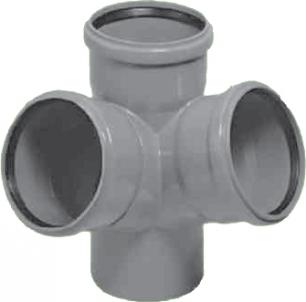 Vidaus kanalizacijos keturšakis HTED, kampinis, d 110 Vidaus nuotekų keturšakiai