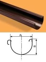 WAVIN Latakas 130x2000x1,6 mm RAL9017 (juoda) Gutters