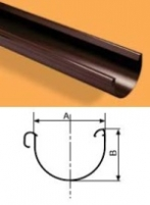 WAVIN Latakas 130x2000x1,6 mm RAL9017 (juoda) Latakai