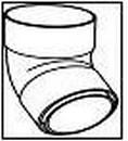 WAVIN dviejų movų alkūnė 110/67 laipsnių (balta)