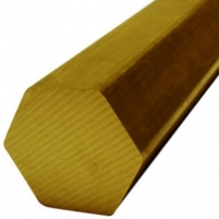 Hexagonal brass bar. LS D 8 Brass