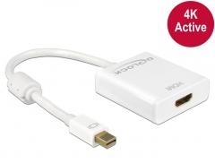 Adapteris Delock Adapter mini Displayport 1.2 męski > HDMI żeński 4K aktywne biały