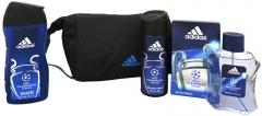 Adidas Champions League - Purškiamas tualetinis vanduo 100 ml + dušo želė 250 ml + dezodoranto purškiklis 150 ml + kosmetinis krepšys (Rinkinys) Kvepalų ir kosmetikos rinkiniai