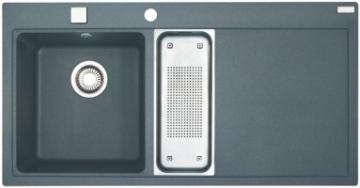 Akmens masės plautuvė FRANKE MTG 651-100 dubuo kairėje, Akmens pilka Plautuvės