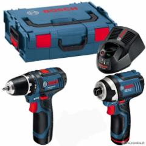BOSCH GSR 10,8-2-LI Professional (2 x 2.0 Ah) akum. suktuvas + BOSCH GDR 10,8 V-Li (be akum.) smūginis suktuvas - veržliasūkis Battery tool kits