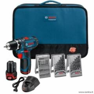 Akumuliatorinių įrankių rinkinys BOSCH GSR 10,8-2 LI Professional + 39 priedai