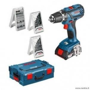 Akumuliatorinių įrankių rinkinys BOSCH GSR 18-2-Li PLUS Professional, 2x2.0Ah + 63 PRIEDAI Battery tool kits