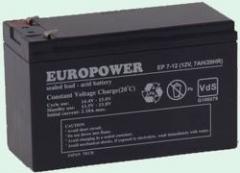 Akumuliatorius Europower 12V/7Ah UPS priedai
