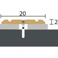 Aliuminio profilis P11 MAXI 180 cm aukso spalvos Grindų jungimo profiliai (Alium., PVC)