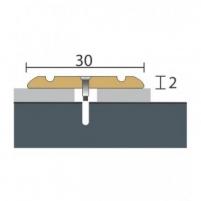 Aliuminio profilis P2 MAXI 180 cm aukso spalvos Grindų jungimo profiliai (Alium., PVC)