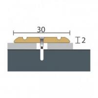 Aliuminio profilis P2 MAXI 93 cm aukso spalvos Grindų jungimo profiliai (Alium., PVC)