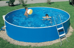 Round outdoor pool BASIC 301 blue Outdoor swimming pools