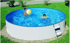 Round outdoor pool BASIC 460 white Outdoor swimming pools