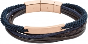 Apyrankė Fossil Blue-brown leather bracelet JF02379791