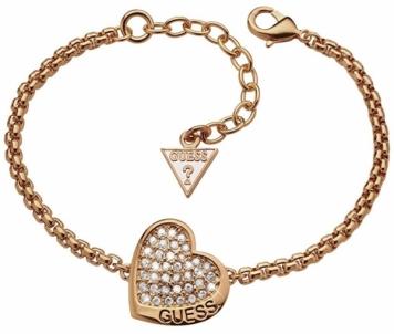 Apyrankė Guess Bronze heart bracelet with crystals UBB11442