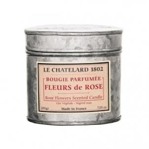 Aromatinė žvakė Le Chatelard Scented candle in zinc box with lid Rose 200 g Kvapai namams