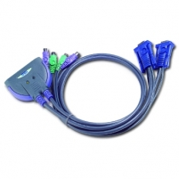 ATEN CS62S 2-Port PS/2 KVM Switch All-in-one design, 0.9m cables
