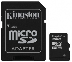 Atminties kortelė Kingston microSDHC 16GB CL4  Adapteris
