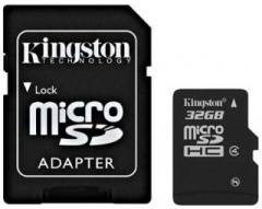 Atminties kortelė Kingston microSDHC 32GB CL4  Adapteris