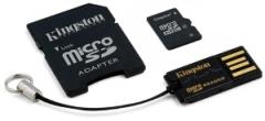 Atminties kortelė Kingston microSDHC 8GB CL4  2 adapteriai ir skaitytuvas