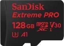 Atminties kortelė SANDISK EXTREME PRO microSDXC 128GB 100/90 MB/s A1 C10 V30 UHS-I U3