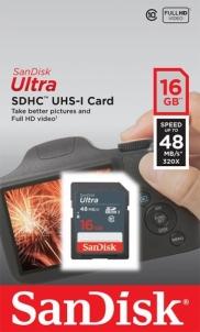 Atminties kortelė SanDisk Ultra SDHC 16GB CL10 UHS1, Iki 48MBs