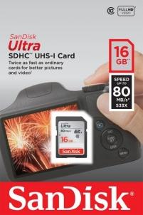 Atminties kortelė SanDisk ULTRA SDHC 16GB klasė 10 UHS-I, Read: 80MB/s