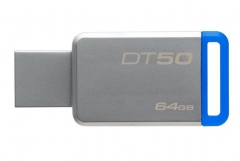 Atmintinė Kingston 64GB USB 3.0 DataTraveler 50 (Metal/Blue)