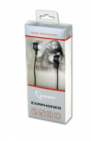 Gembird Stereo metal earphones with microphone and volume control, black-white Ausinės ir mikrofonai