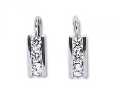 Auskarai Čištín Sidabriniai s čirými krystaly E0012 CZ