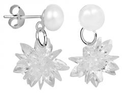 Auskarai JwL Luxury Pearls Pearl earrings with crystal flower JL0402 Earrings