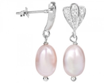 Auskarai JwL Luxury Pearls Pearl earrings with pink pearl right JL0112