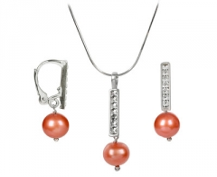 Auskarai JwL Luxury Pearls Set necklace and earrings with real pearls and Swarovski Elements JL0144