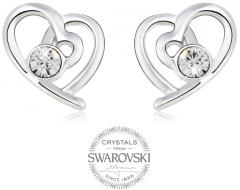 Auskarai Levien Romantic earrings Hearts with clear crystals Auskari