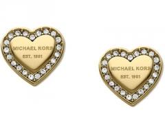 Auskarai Michael Kors Pozlacené náušnice srdíčka s krystaly MKJ3965710