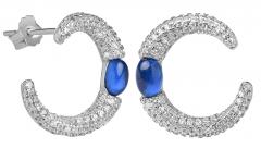 Auskarai Silver Cat Fashion silver earrings with zircons SC308 Auskari