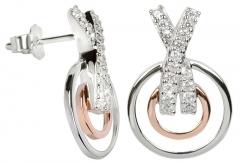 Auskarai Silver Cat Stříbrné náušnice s krystaly SC027 Earrings