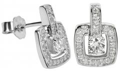 Auskarai Silver Cat Stříbrné náušnice s krystaly SC048 Earrings