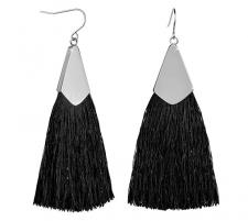 Auskarai Troli Black tassel earrings with steel hook