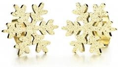 Auskarai Troli Glittery gold earrings Snowflake KE-013 Auskarai