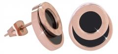 Auskarai Troli Pink gold-plated steel earrings with Roman numerals