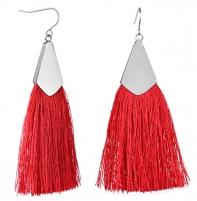 Auskarai Troli Red earrings tassels with steel hook