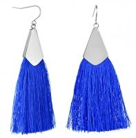 Auskarai Troli Royal blue tassel earrings with steel hook Auskarai