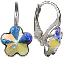 Auskarai Troli Dívčí stříbrné náušnice Flower Crystal AB Earrings